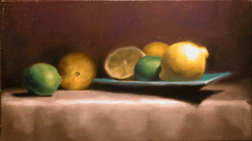 Still life painting of lemons and limes