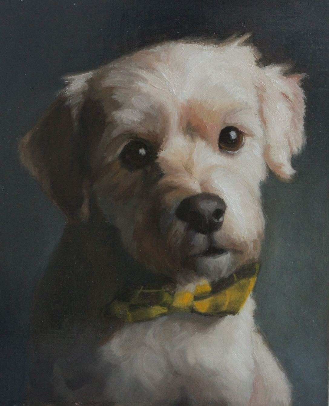 Portrait painting of white dog